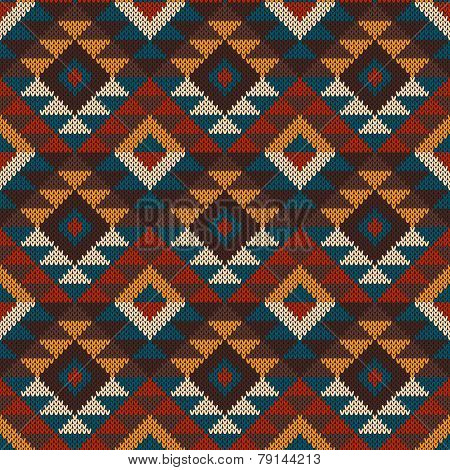 Tribal Aztec Seamless Pattern On The Wool Knitted Texture