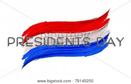 United State American flag color paint stroke for Presidents Day celebration on white background.