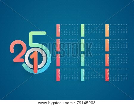 Stylish annual calendar with colorful text 2015 for New Year celebration on blue background.