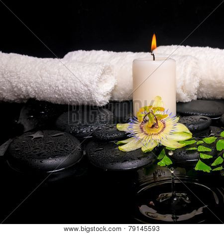 Spa Setting Of Passiflora Flower, Green Branch Fern And Candle On Zen Stones With Drops In Ripple Re