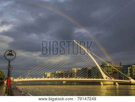 Rainbow Over Dublin On A Rainy Day
