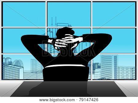 Businessman And Window