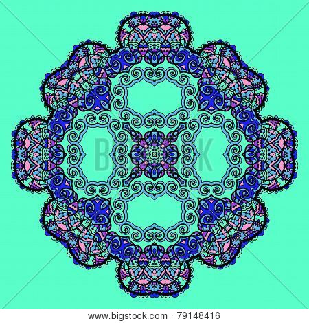 Trippy flower. Acid art. Oriental mandala over bright green color. Design element.