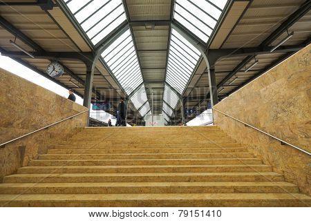 GENEVA - SEP 11: train station in city center on September 11, 2014 in Geneva, Switzerland. Geneva is the second most populous city in Switzerland and is the most populous city of Romandy