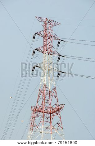 Electricity Pylon In Blue Sky