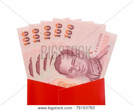 Thai Baht Banknotes In Red Packet For Chinese New Year Gift