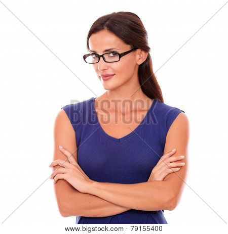 Beautiful Girl In Purple Dress And Spectacles