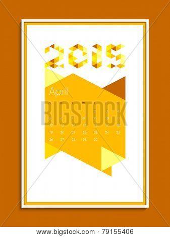 April 2015 calendar page design for New Year celebration.