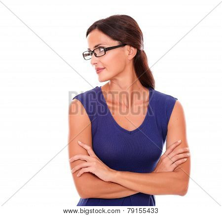 Beautiful Woman In Purple Dress And Spectacles