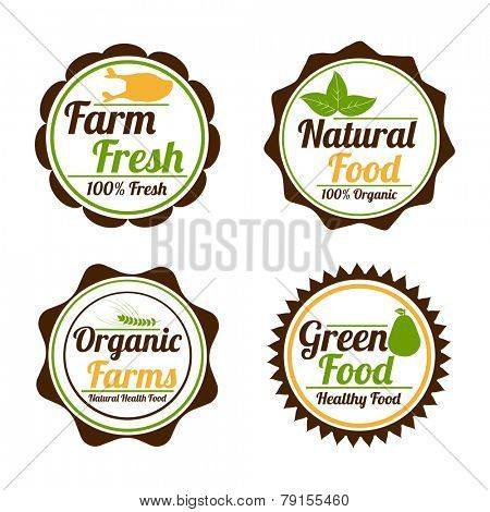 Set of four badges of farm fresh, natural food, organic farms and green food shop on white background.