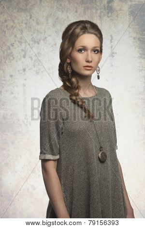 Fashion Girl With Blonde Braid