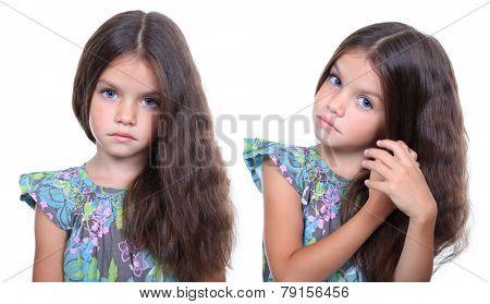 Closeup portrait of pretty little girls