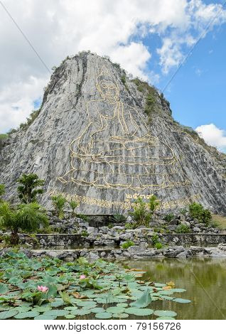 Carved Buddha Image On The Cliff At Khao Chee Chan, Thailand