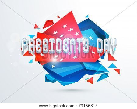 3D text Presidents Day on United State American flag color abstract background.