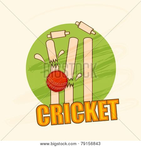 Cricket wicket stumps cracked by red ball on stylish green background.