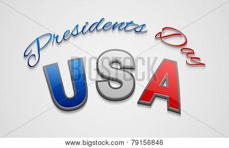 Poster, banner or flyer with glossy text United State American for Presidents Day celebration on shiny grey background.