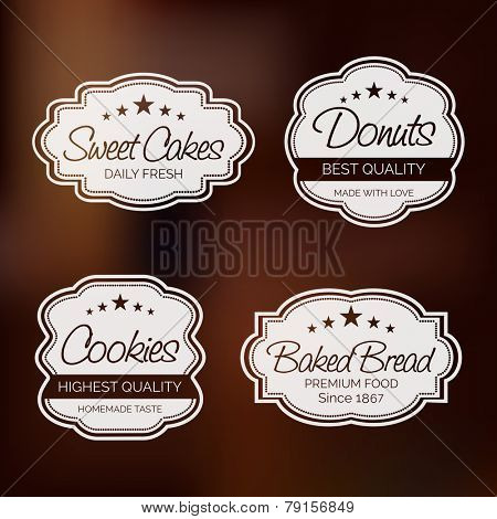 Set of four label for sweet cakes, donuts, cookies and baked bread on shiny brown background.