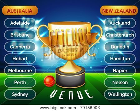 Cricket Championship 2015 venue list for Australia Vs New Zealand match with golden trophy and ball in stadium lights.