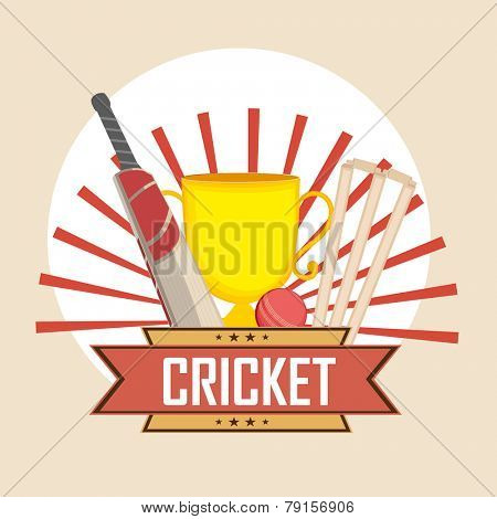 Cricket sports concept with bat, ball, wicket stumps and winning trophy on stylish background.
