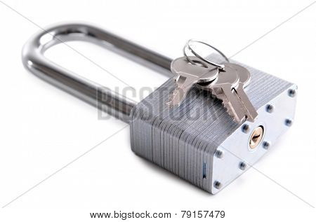 Padlock with keys isolated on white