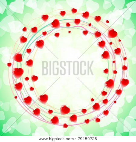 Heart Love Round Circular Swirl Around Background Green