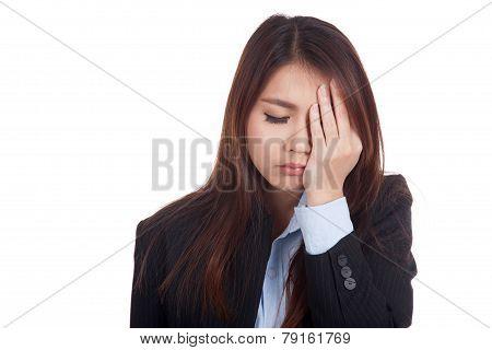 Young Asian Businesswoman Got Headache