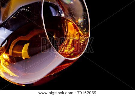 Snifter Of Brandy In Elegant Glass With Space For Text