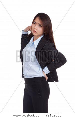 Young Asian Businesswoman Got Back Pain