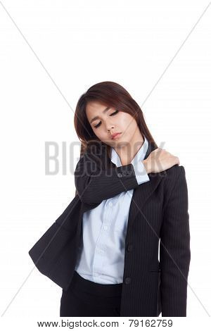 Young Asian Businesswoman Got  Shoulder  Pain