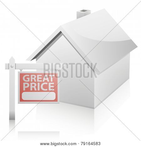 detailed illustration of a real estate Great Price sign in front of a house, eps10 vector