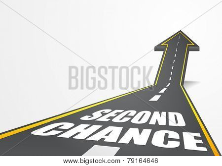detailed illustration of a highway road going up as an arrow with Second Chance text, eps10 vector