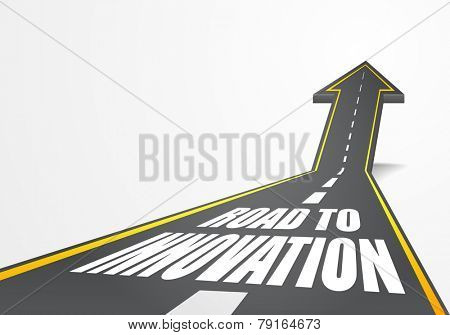 detailed illustration of a highway road going up as an arrow with Road To Innovation text, eps10 vector