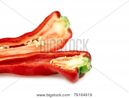Background Texture Of Tasty Fresh Red Capsicum Pepper With Copyspace
