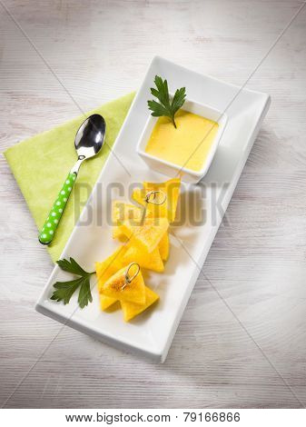 grilled polenta with cheese sauce