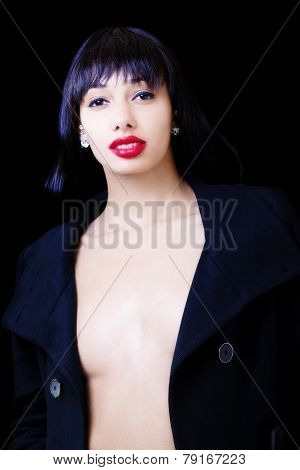 Attractive Skinny Light Skinned Black Woman Open Jacket