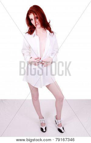 Red Headed Caucasian Woman Standing White Shirt