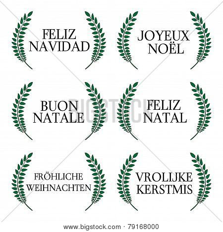 Merry Christmas Laurels In Different Languages 1