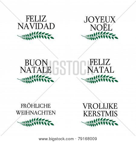 Merry Christmas Laurels In Different Languages 3