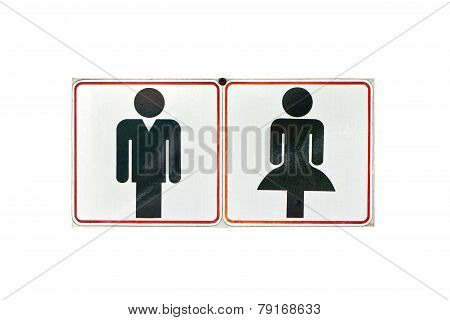 Toilet Or Restroom Sign Isolated On White.