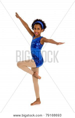 Happy Acro Dancer Child With Legs In Retire