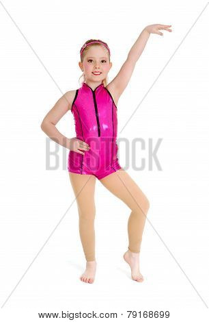 Jazz Dancer Girl In Pink On White Background