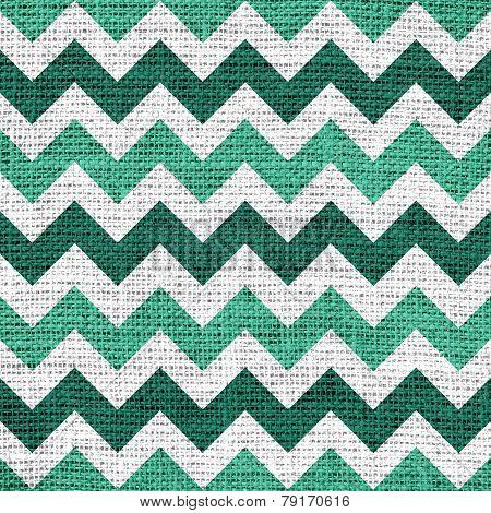 Seamless mint chevron zigzag burlap jute fabric background