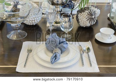 Luxury Dinning Room With Table Set On Table At Home