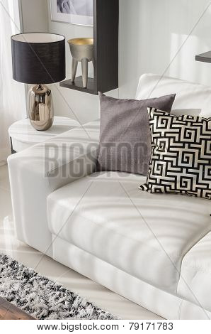 Luxury Living Room With Luxury White Sofa And Pillows