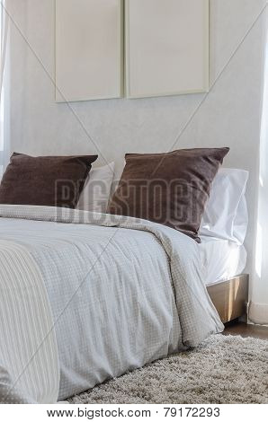 Brown Pillows On Bedroom