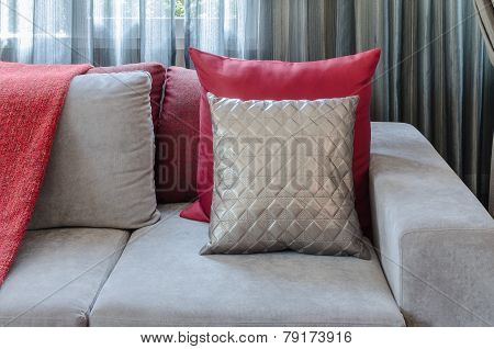 Grey Sofa With Red Pillow In Living Room At Home