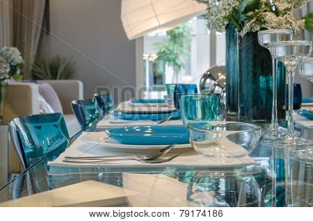Table Set On Glass Table