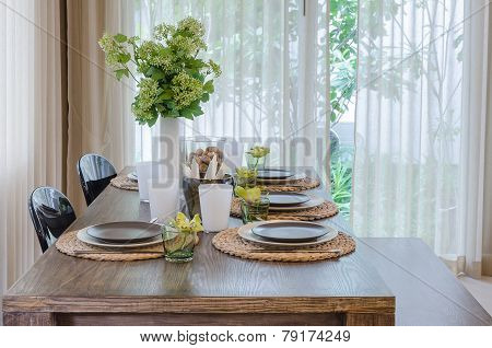 Modern Dinning Room With Wooden Table And Chair