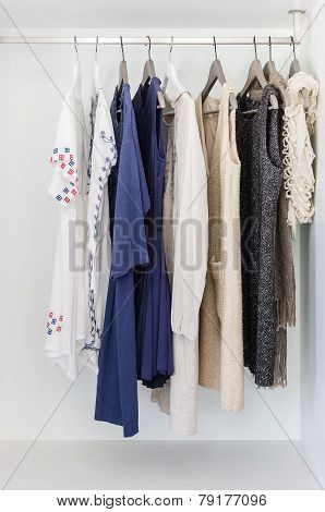 Row Of Cloth Hanging On Coat Hanger