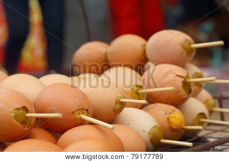 Grilled Chicken Eggs On The Stove.